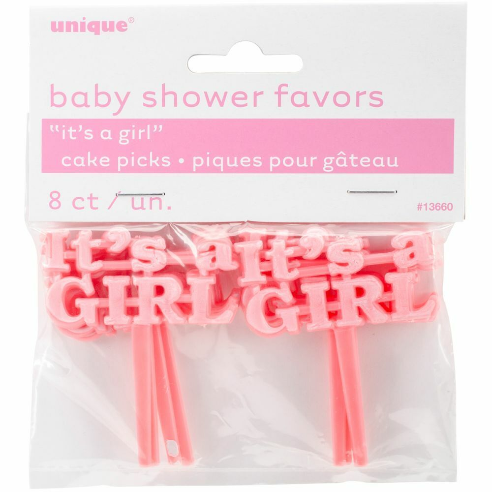 Unique It's A Girl Baby Shower Favors Cake/Cupcake Picks 8 c