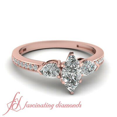 Pear And Marquise Diamond Accented 1 Ct Unique Engagement Ring In Rose Gold GIA