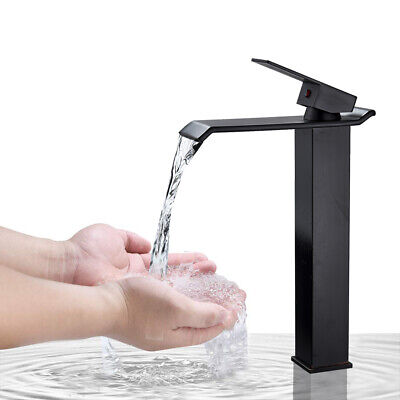Bathroom Sink Faucet Matte Black Tall Countertop Waterfall Lavatory Mixer Tap Bathroom Sink Lavatory Faucet
