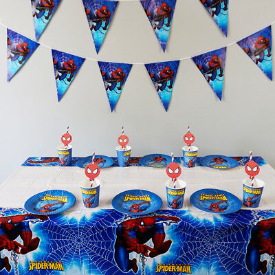 Theme For Birthday Party (38pcs Spider Man Theme for 12 Kids Child Tableware Set Birthday Party)