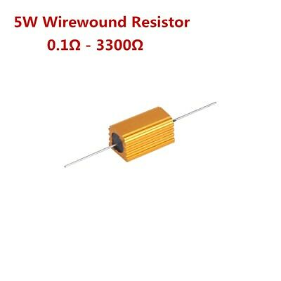 5w 0.1-3300 Ohm Shell Power Aluminum Housed Case Wirewound Resistor 1pcs