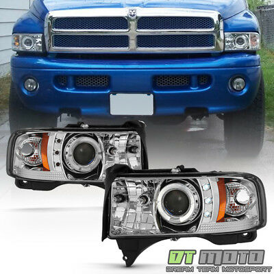 1994-2001 Dodge Ram 1500 1500 2500 LED Halo Projector Headlights w/Corner Signal