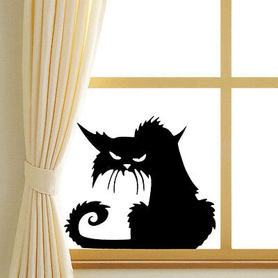 new 3D Black Cat Wall Stickers Halloween Vinyl Decal Home Window Wall Car
