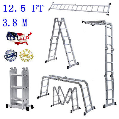 12.5 ft Folding Ladder Aluminum Multi Purpose Extension Ladders Building Supplie