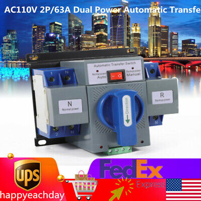 Ac110v 2p63a Dual Power Automatic Transfer Switch Generator Changeover Switch
