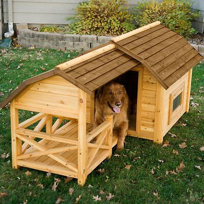 Large Outdoor Dog House Kennel Insulated Wood Pet Puppy Raised Floor Porch (Outdoor Dog Kennel Floor)