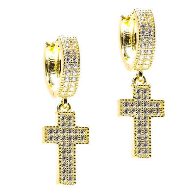 Men Two Tone 14K Gold Cross Drop Dangle Hanging Iced Cz Huggie Hoop -