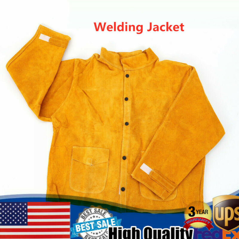 Flame-Resistant Heavy Duty Leather Welding Jacket Welder Protective Clothing NEW