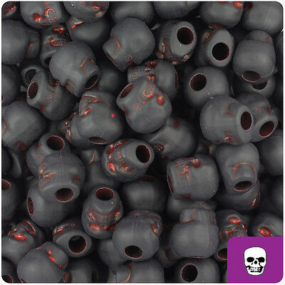 150 Black & Red Matte 11mm Halloween Skull Pony Beads Made in the USA ()
