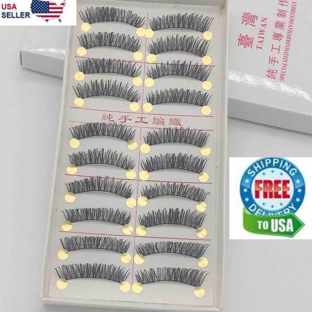 10 Pairs False Eyelashes Natural Long Eye Lashes Handmade Thick Black Makeup Set Eyes