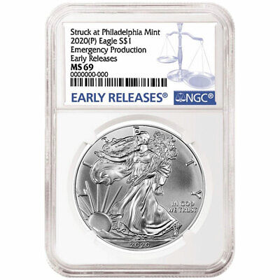 2020 (P) $1 AMERICAN SILVER EAGLE NGC MS69 ER EMERGENCY PRODUCTION BLUE LABEL