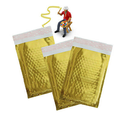4 X 8 Gold Bubble Mailers Metallic Mirrored Rigid Padded Shipping Envelopes