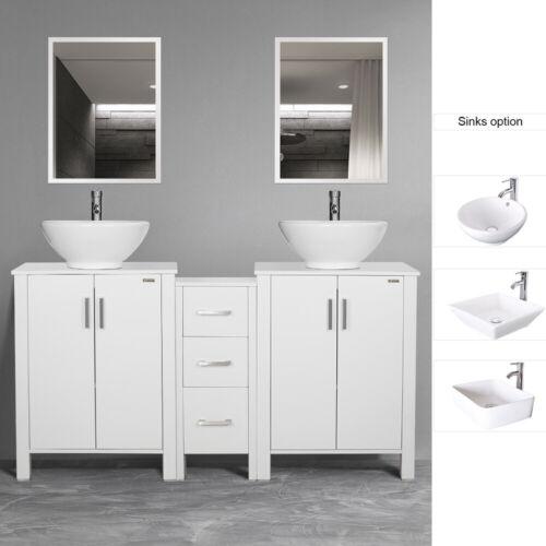 """60"""" Bathroom Vanity W/Ceramic Vessel Sink Cabinet Top Mirror White Side table"""