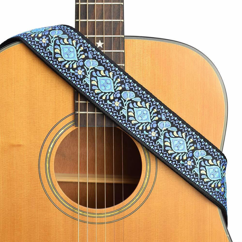 CLOUDMUSIC Guitar Strap Jacquard Weave Strap Leather Ends Vi