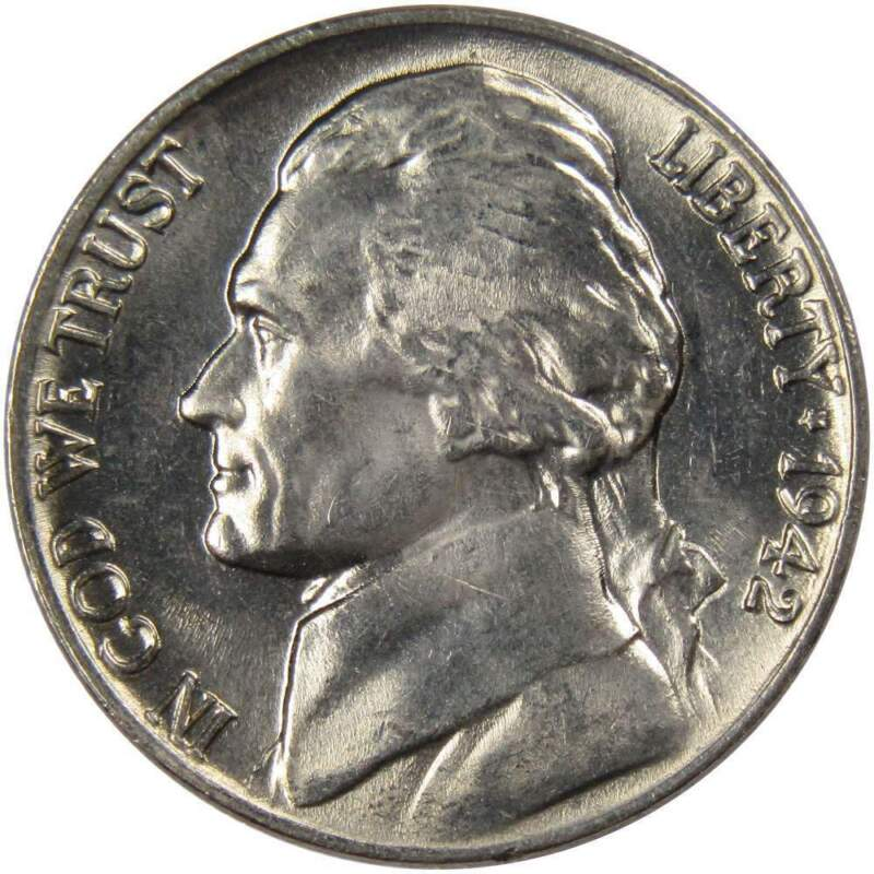 1942 5c Jefferson Nickel US Coin Uncirculated Mint State