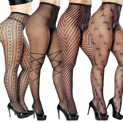Plus Size Pantyhose Socks Tights Women Sexy Stockings Nylon Lace Pattern - Nylon Tights
