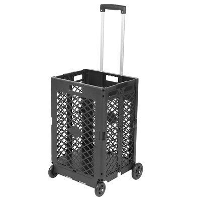 Foldable Rolling Mesh Trolley Shopping Cart Plastic Basket Luggage W Wheels