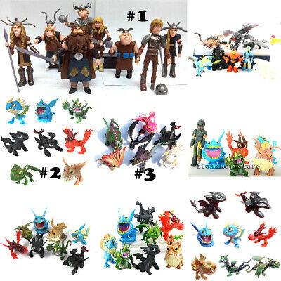 How to Train Your Dragon Toothless Night Fury Action Figures Toy Cake Topper Set Gear Set Toys