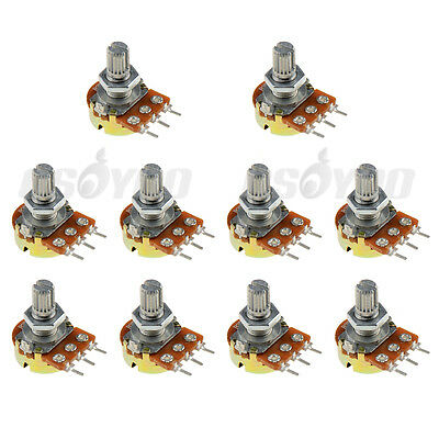 10pcs B10k Ohm 10k Shaft 3 Pin Linear Rotary Taper Adjustment Potentiometer Pot