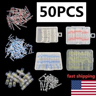 50pcs Solder Sleeve Heat Shrink Wire Butt Splice Connector Waterproof Terminal