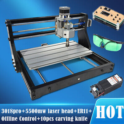 3018-pro Diy Wood Cnc Router Kit Engraving Machine5500mw Laseroffline Control