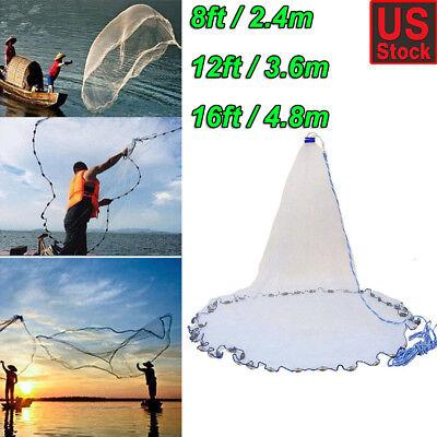 - Hand Cast Fishing Net Spin Network Easy Throw Bait Nylon Mesh 8ft/12ft/16ft