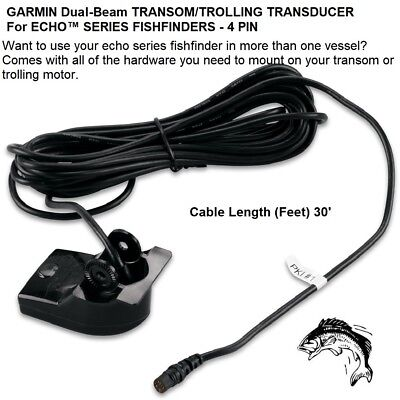 (Garmin Dual-Beam Transom/Trolling Transducer For echo™ Series Fishfinders-4 Pin)