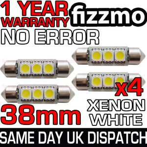 4x-ERROR-FREE-CANBUS-3-SMD-LED-38mm-239-272-C5W-XENON-WHITE-NUMBER-PLATE-BULB-UK