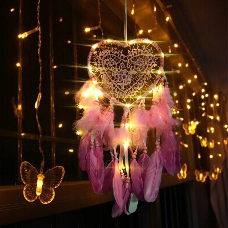 LED Light Love Heart Dream Catcher Feathers Car Home Hanging Decor Gift Pink