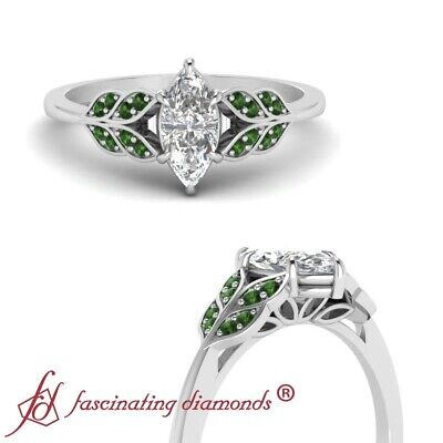 Marquise Cut Diamond And Emerald Gemstone Engagement Ring For Women 0.65 Carat