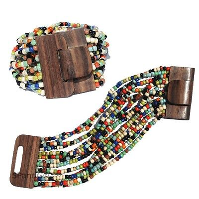 Multi-colored Glass Beaded Multi-strand Stretch Bracelet Wooden Clasp FREE SHIPG