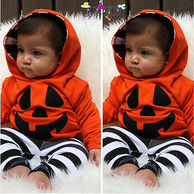 Autumn Infant Baby Boy Girls Pumpkin Hooded Blouse+Pants Halloween Outfits (Halloween Baby Outfits)