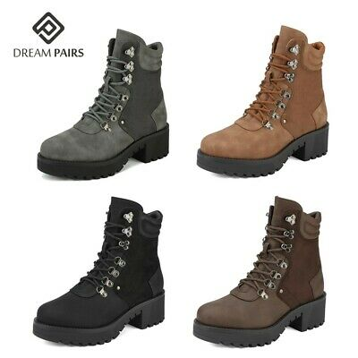 DREAM PAIRS Women's Faux Fur Ankle Boots Lace-Up Combat Mid Heel Military Shoes Fall Lace Boots