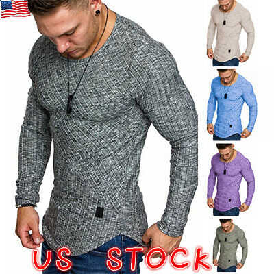 Summer Mens Slim Fit Long Sleeve T Shirt Designer Muscle Fitted Top Gym Tee (Top Mens Designer)