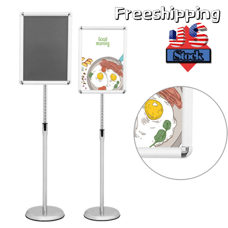 """Adjustable Height A3 A4 Aluminum Poster Frame Sign Stand Poster Frame 11x17"""" US"""