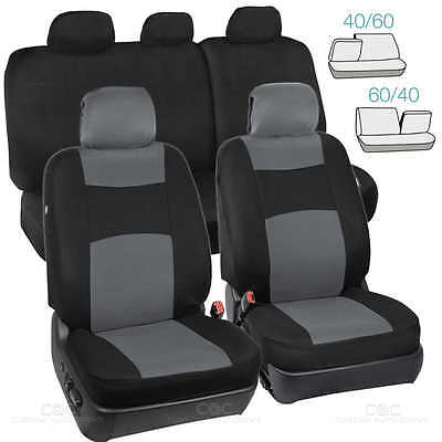 Car Seat Covers - Gray/Black Polyester Cloth - Front & Rear Split Bench 9pc  Set
