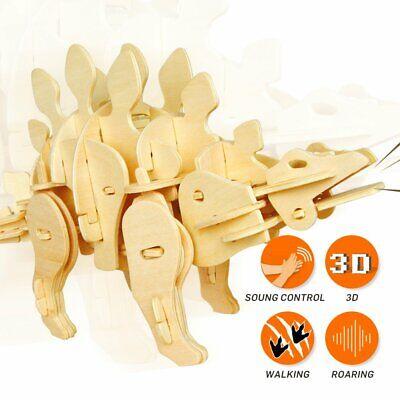 Robotime Dinosaur 3D Puzzle Wooden Sound Control Stegosaurus Model Toy Kids Boys ()