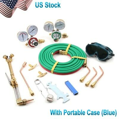 Portable Gas Welding Cutting Kit Acetylene Oxygen Torch Set Regulator 3 Nozzle