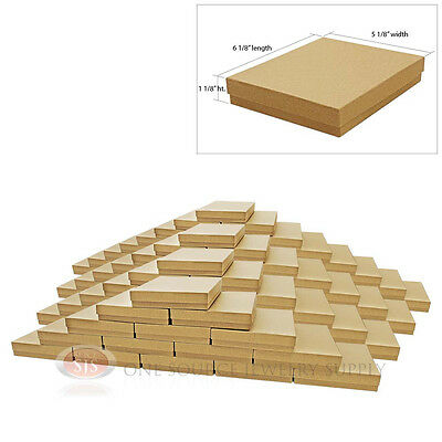 """Large 100 Brown Kraft Cotton Filled Jewelry Gift Boxes 6 1/8"""" x 5 1/8"""" x 1 1/8""""H"""