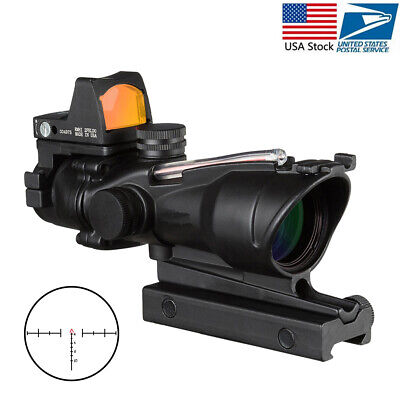 Acog 4x32 Chevron Reticle Fiber Green/Red Illuminated Rifle Scope with Top Rmr