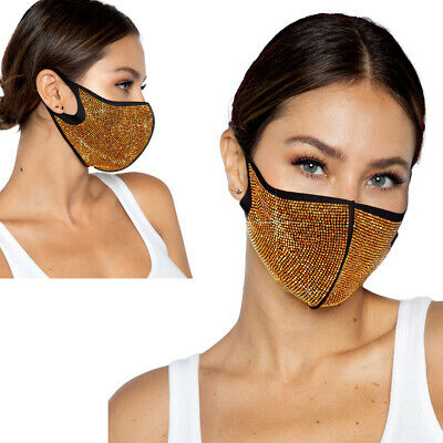 Mundschutz Maske Gesicht Nase Damen schwarz gold Strass Edel Silvester
