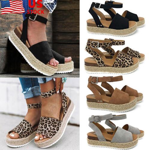 Womens Ankle Strap Buckle Sandals Ladies Wedge Platform Heel
