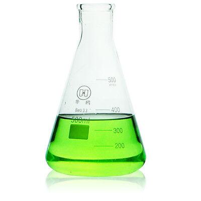 500mlglass Erlenmeyer Flasklaboratory Chemistry Conical Bottle Wnarrow Mouth