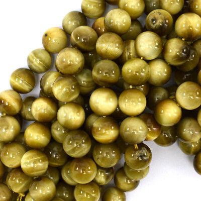Gold Tiger Eye Round Beads Gemstone 15.5