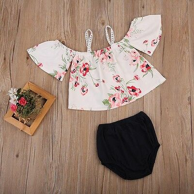 US Stock Newborn Baby Girls Floral Off Shoulder Tops Shorts Outfits Clothes 0-2T