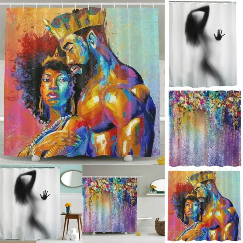 Funny Painted Shower Curtain Waterproof Polyester Bathroom D