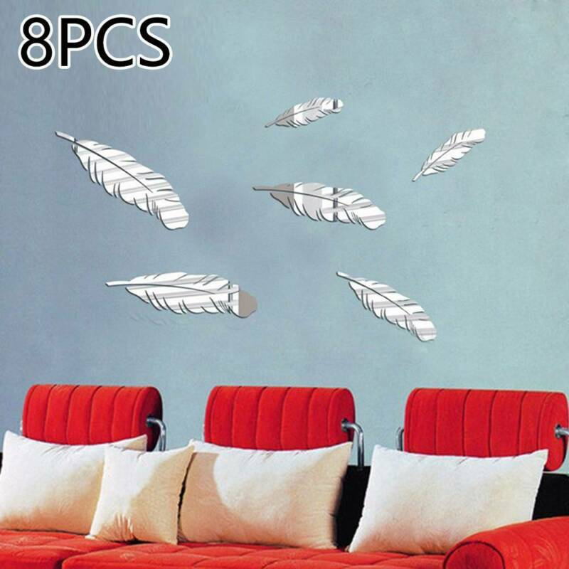 Home Decoration - 8PCS Feather  Stick On Mirror Glass Tile Wall Stickers Decal Mosaic Room Decor