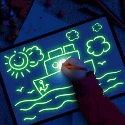 3D Magic Drawing Pad Board Kids Sketchpad LED Light Glow Art Paiting Writing Toy