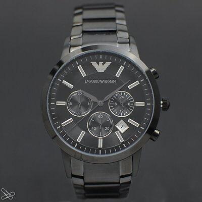 Emporio Armani Herrenuhr Chronograph AR2453 Edelstahl Elegant Grau und Schwarz