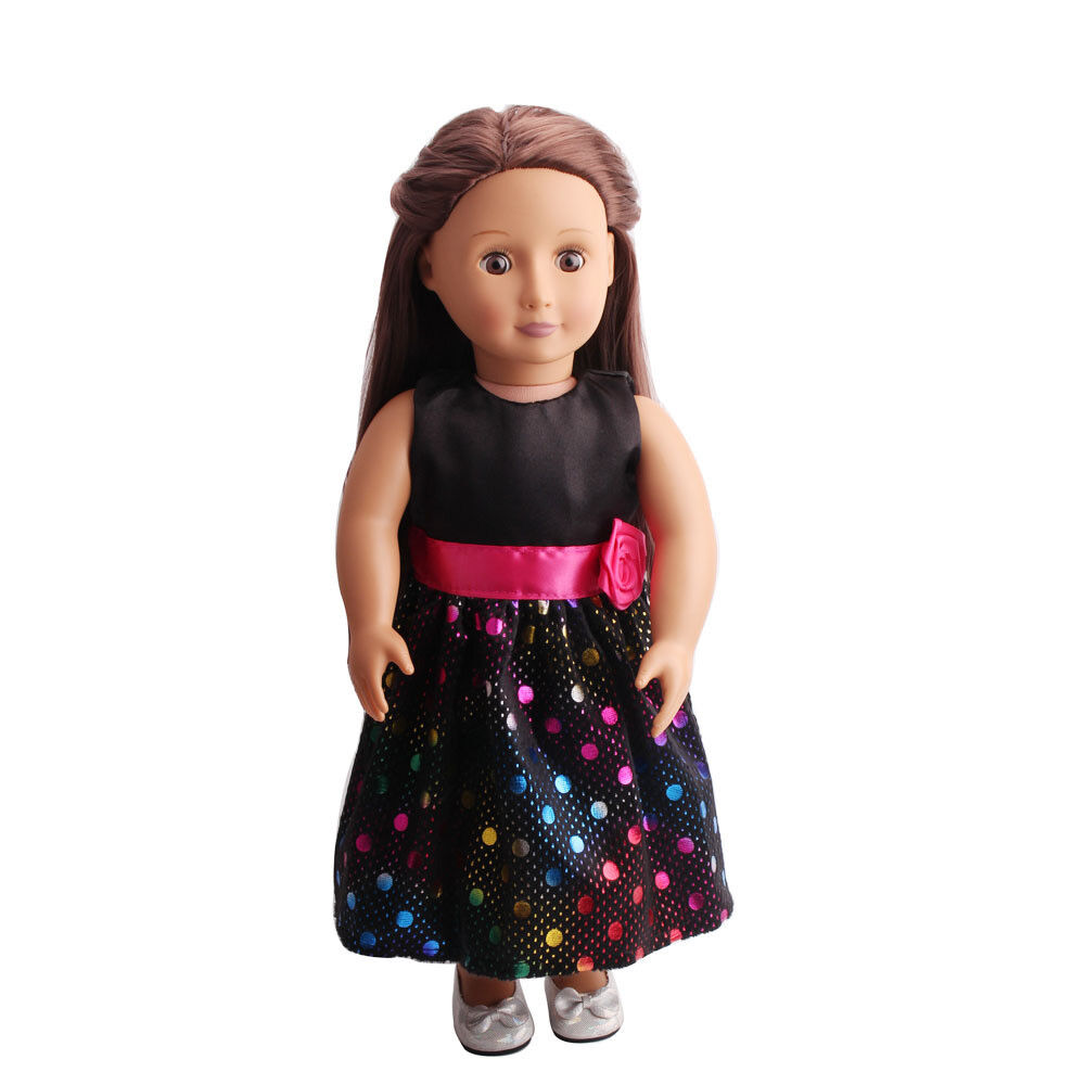 US Stock Doll Clothes Dress Outfits Pajames For 18 inch Xmas Gift Dress Shoes K11 Black Dot